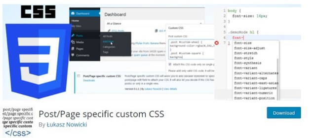 Post-Page CSS plugin