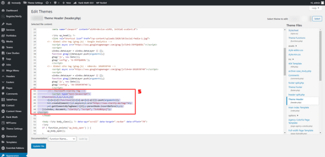 tracking code in section