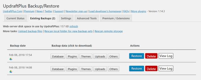 UpdraftPlus plugin Restores backups