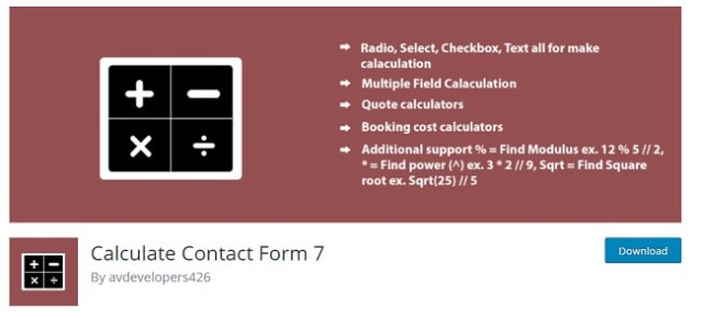 Calculate Contact Form 7
