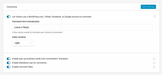 comments setting