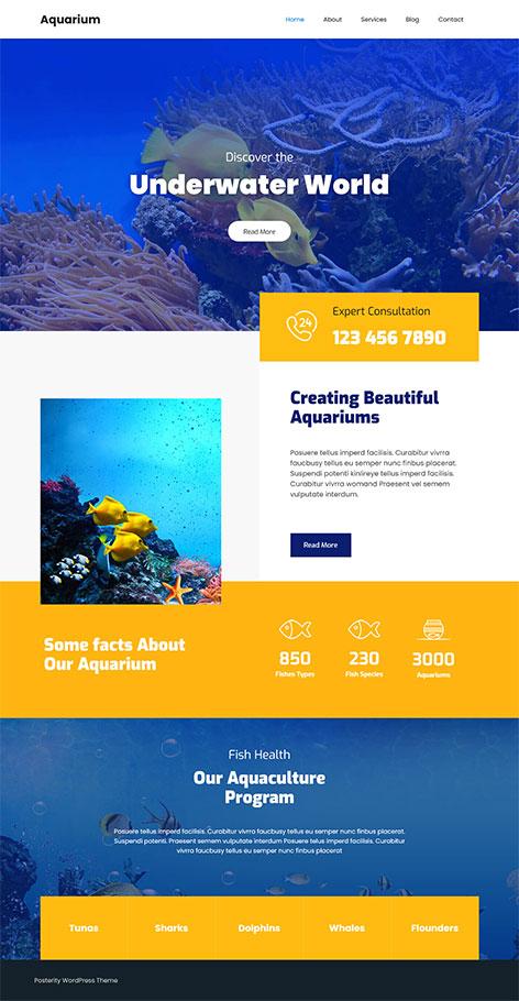 free aquarium WordPress theme