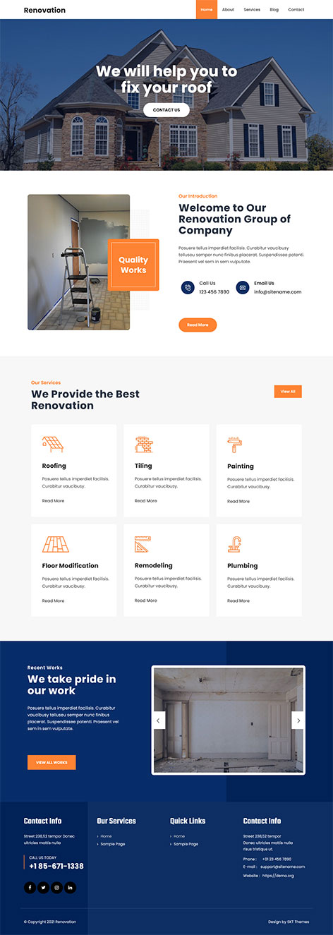 free home improvement WordPress theme