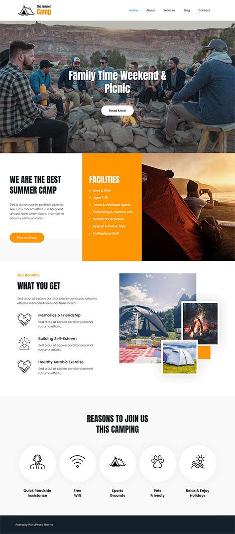 free kids camp WordPress theme