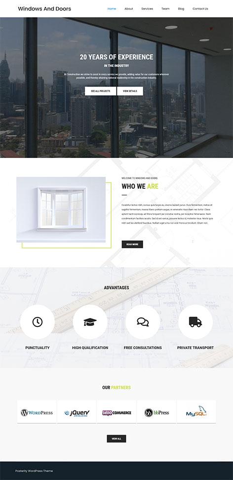 free windows and doors wordpress theme