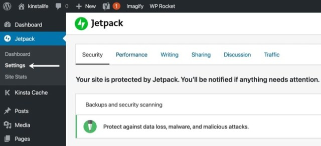 jetpack settings