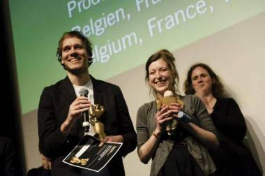 Marc James Roels and Emma de Swaef accepting there award at Stuttgart 2013