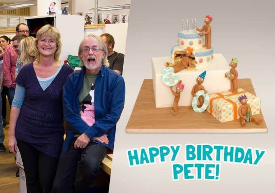 Special Morph birthday cake for Peter Lord's Birthday!