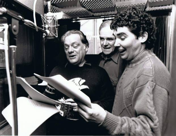 A still from a voice recording session with voice actors Sir David Jason, Jimmy Hibbert & Brian Trueman. Allow your voice actors some freedom in the performance. If you are too rigid in your direction the performances can be a little dull. Let them have fun and the results will be much more successful. Photo: Jimmy Hibbert.