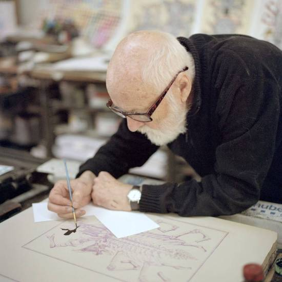 Jan Švankmajer working on one of the unique lithographies that will be available as rewards in the ongoing Indiegogo campaign for his final film. (© Lukáš Bucman)
