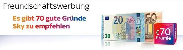 70 Euro Gutschrift bei Sky Freundschaftswerbung