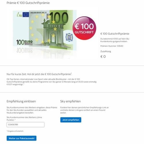 Sky 100 Euro Freundschaft