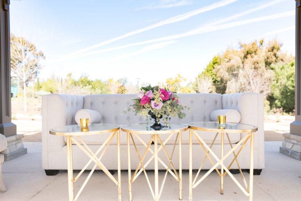 furniture design and flower centerpiece