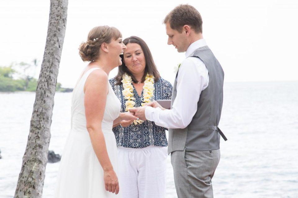 bride laughs Kealakekua Bay Wedding