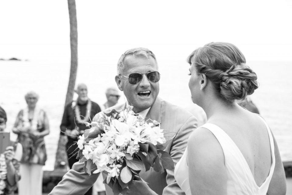 Father is happy at Kealakekua Bay Wedding Venue