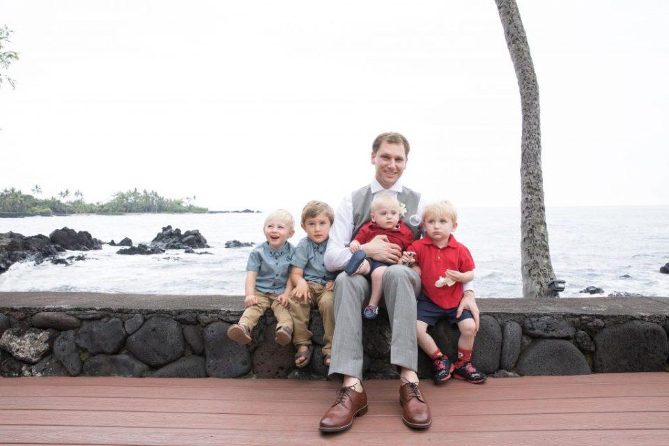 Groom with the children Kealakekua Bay Wedding