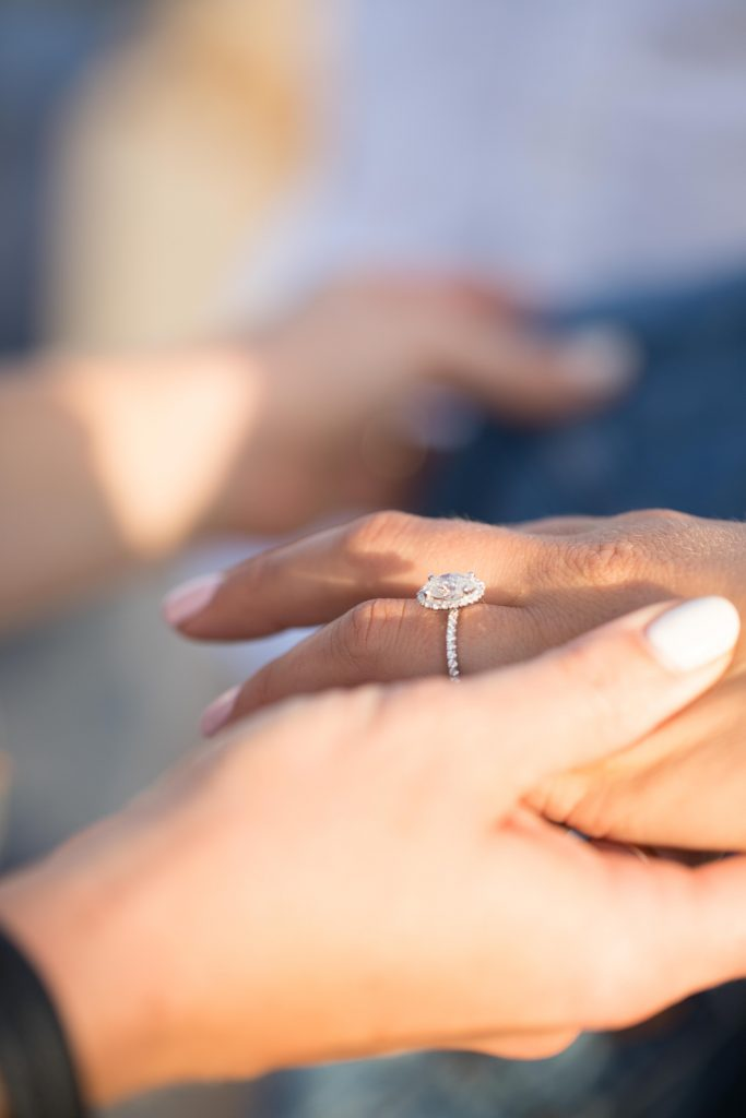 bride shows off ring