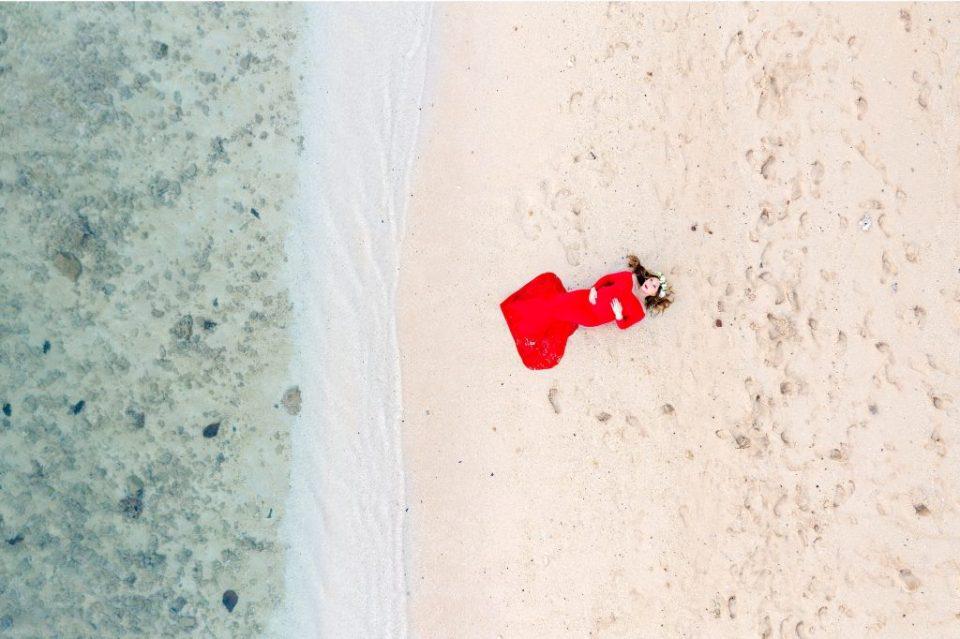 drone sjot on beach