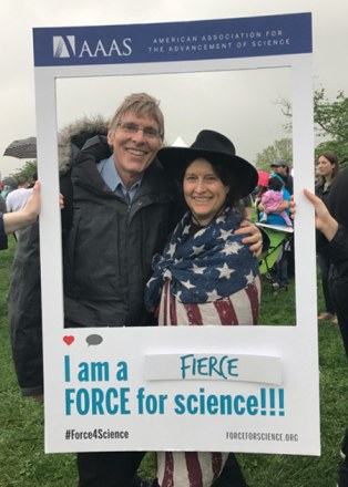 Alan MacRobert and flag-bedraped wife Abby Hafer, the closest they'll ever get to being on the cover of Science magazine.
