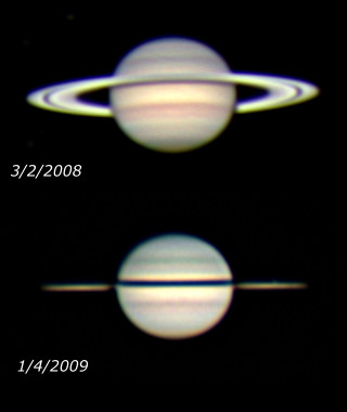 Saturn in Spring 2008 and 10 months later