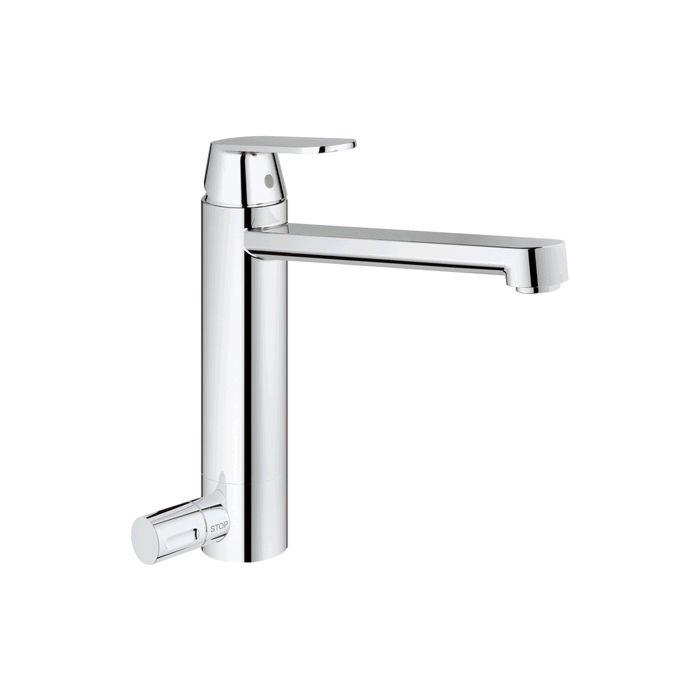 grohe eurosmart kitchen tap 30195000 chrome cosmopolitan medium high spout shut off valve