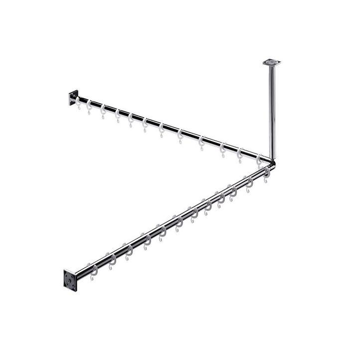emco 358700123 set de douche 1 000 mm 2 x barre pour rideau de douche 1 x set de montage 1 x ecoincon 90 1 x support plafond pour barre 24 x