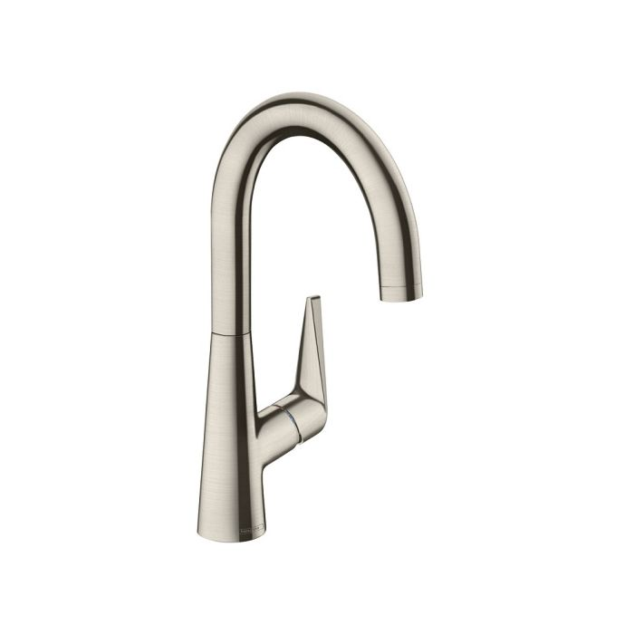 hansgrohe talis s 220 kitchen tap stainless steel optics swivel spout