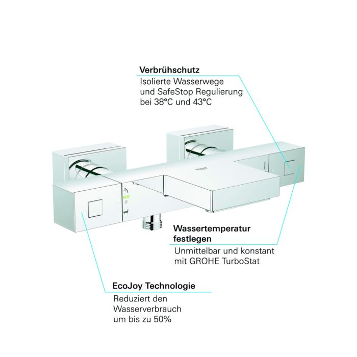 grohe mitigeur thermostatique 2 sorties 1 2 chrome montage mural dn 15