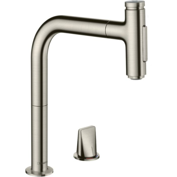 hansgrohe metris select 2 hole sink mixer 73818800 stainless steel look 2jet pull out spray