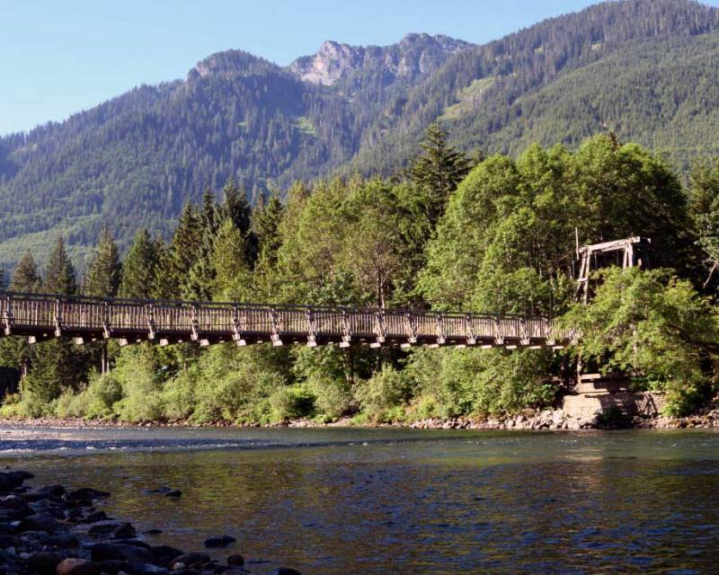Skykomish River at Whispering Waters romantic rental cabin