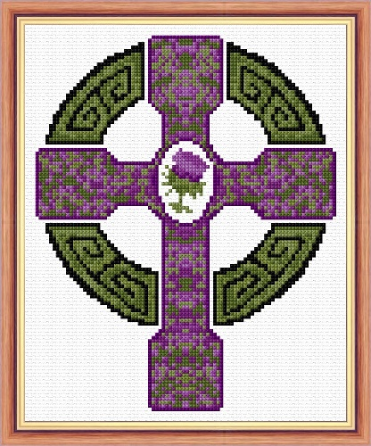 Celtic Cross Amp Scottish Thistle 14 Count Mini Cross