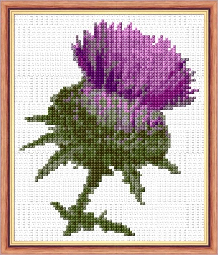 Scottish Purple Thistle 14 Count Cross Stitch Mini Kit