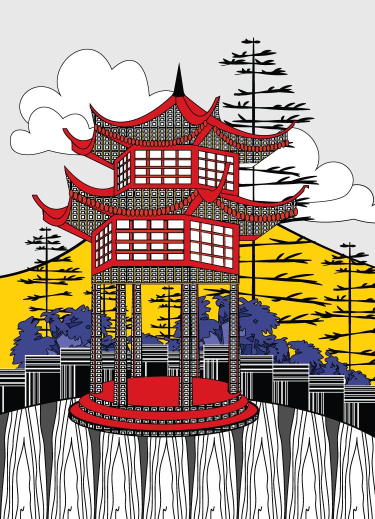 Pagoda Greeting Card
