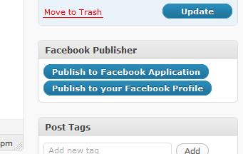 Simple Facebook Connect | Pubblicazione manuale