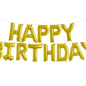 HAPPY BIRTHDAY Phrase Letters Gold Foil Balloons Party Decor Set 17″