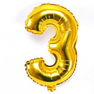 Number 3 Giant Gold Balloon Birthday Anniversary Party Foil 40 inches