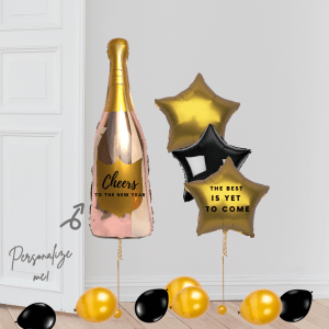 Happy New Year Stars Champaign Balloon Bouquet