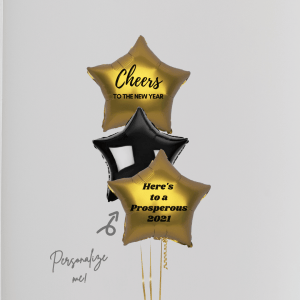 Personalized Happy New Year Balloon Stars