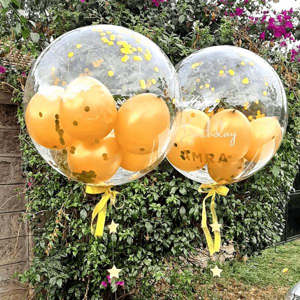 Personalized stuffed bubble balloon