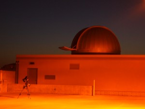 St Thomas Observatory at sunset with orange lighting
