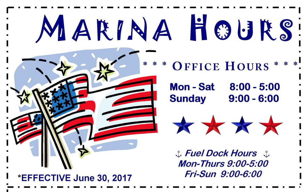 New JULY Hours for Skyline Marina!
