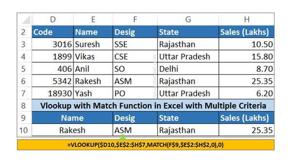 How To Use Vlookup Match Function In Excel