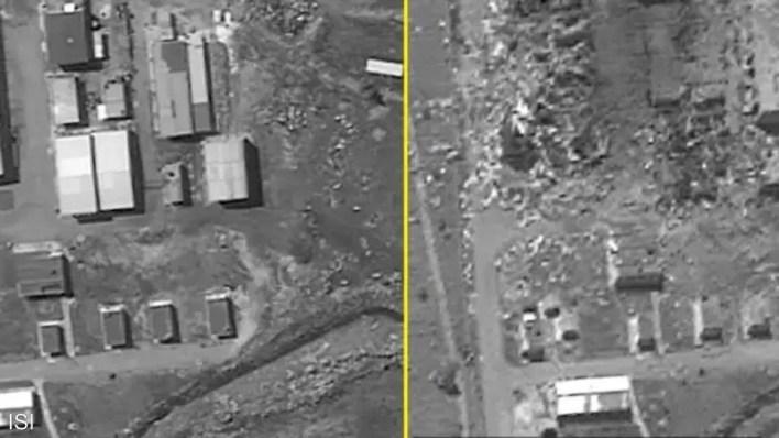 صور جوية لقبل وبعد استهداف المصنع