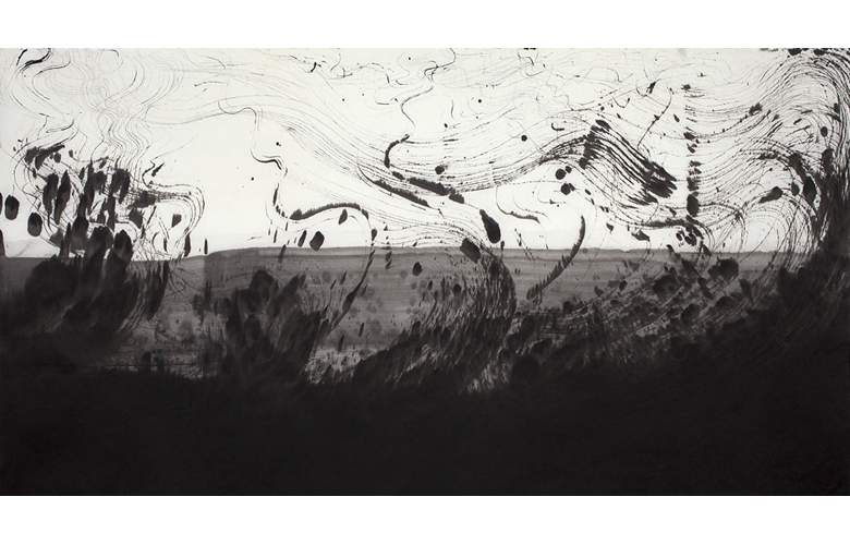 Sky Pape Ligurian Suite 9419 ink drawing on hanji paper