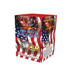An american fireworks item, Shot red white blue and salute 16shots 200Gram cake