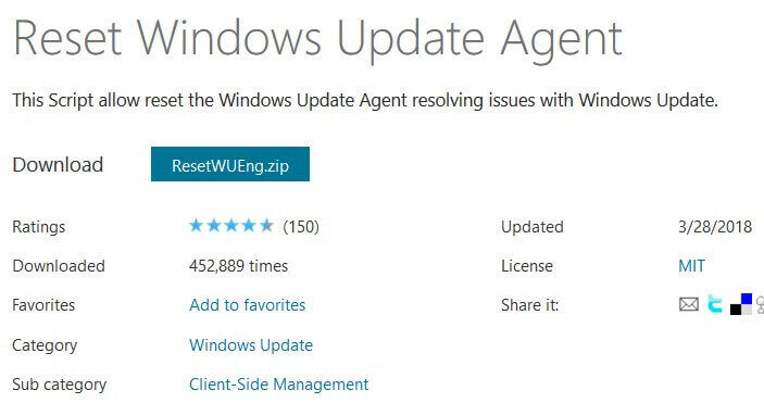 Reset window update agent
