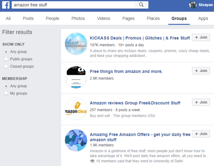 Groups on Facebook