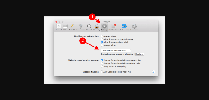 clear cookies and cache in safari mac