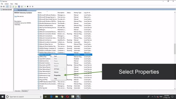 select properties on nvidia telemetry container