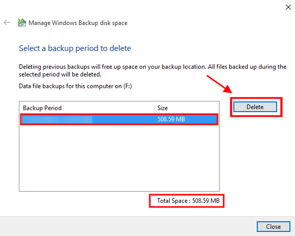 select a backup period to delete